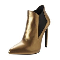 Shoespie Golden Pointed Toe Stiletto Heel Women's Boot