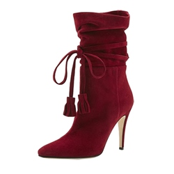 Shoespie Fringe Lace-Up Front Pointed Toe Stiletto Heel Ankle Boot