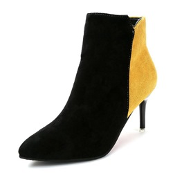Shoespie Pointed Toe Side Zipper Stiletto Heel Color Block Ankle Boot
