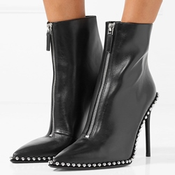 Shoespie Beads Purfle Back Zip Ankle Boots