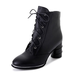 Shoespie Side Zipper Cross StrapChunky Heel Ankle Boot