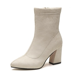 Shoepie Pointed Toe Side Zipper Chunky Heel Ankle Boot