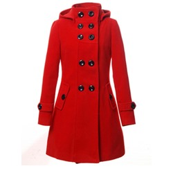 Double-Breasted Straight Mid-Length Women's Overcoat