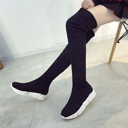 Shoespie Flat Heel Slip-On Platform Knee High Boot