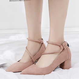 ShoespiePointed Toe Buckle Chunky Low Heel