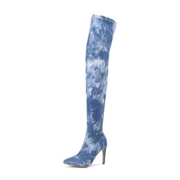 Shoespie Casual Pointed Toe Stiletto Heel Side Zipper Knee High Boot
