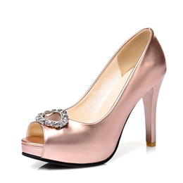Shoespie Diamond Platform Slip-On Peep Toe Stiletto Heel