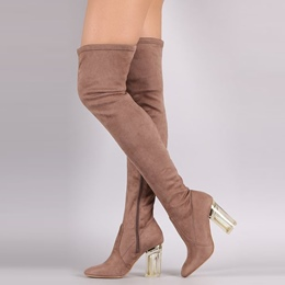 Shoespie Hyaline Chunky Heel Side Zipper Knee High Boot