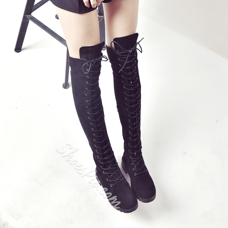 Lace-Up Front Block Heel Knee High Boots