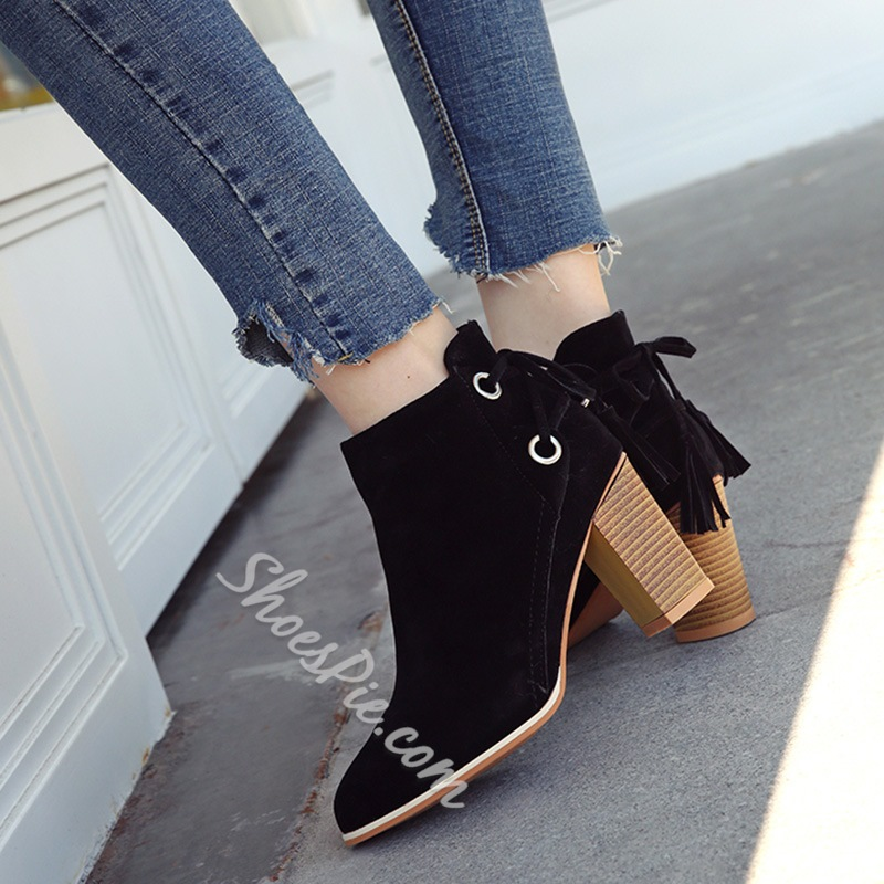 Shoespie Fringe Lace-Up Side Zipper Chunky Heel Ankle Boot