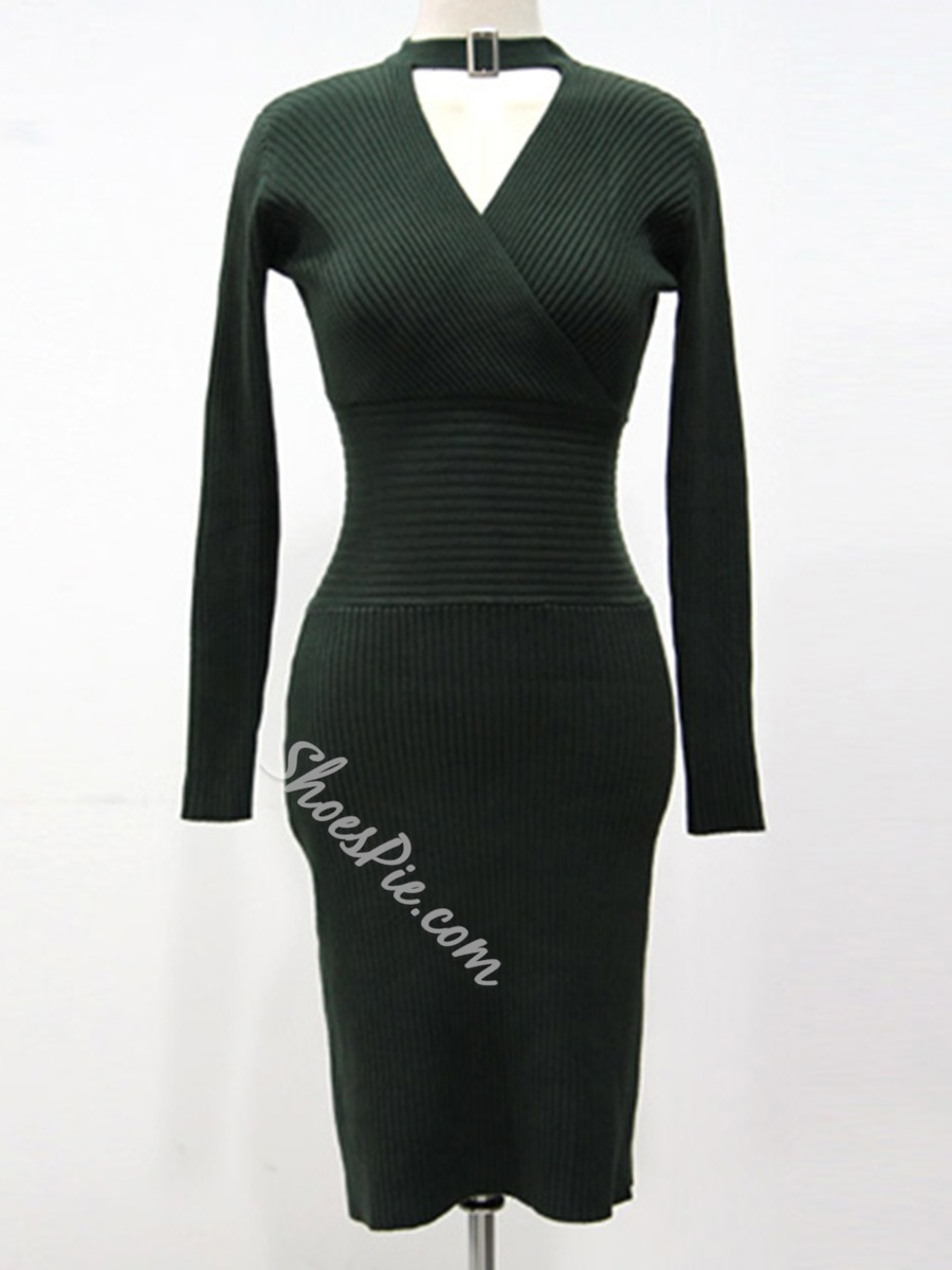 Shoespie High-Waist Long Sleeve Bodycon Dress