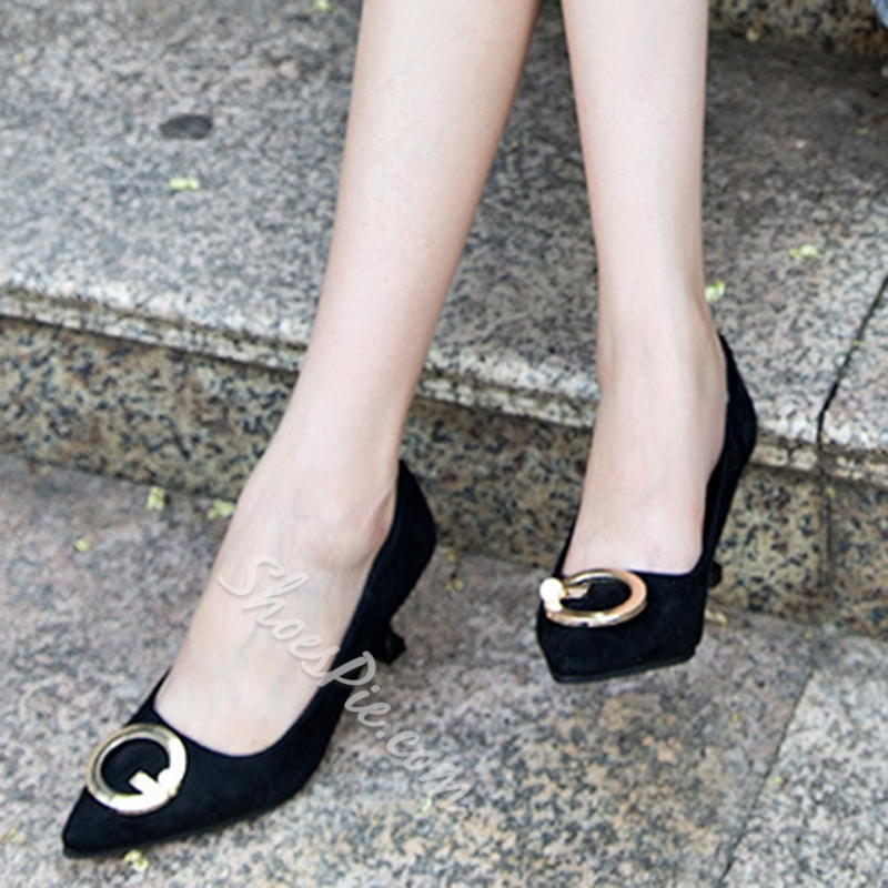 ShoespieCasual Slip-On Pointed Toe Beads Sequin Low Heel