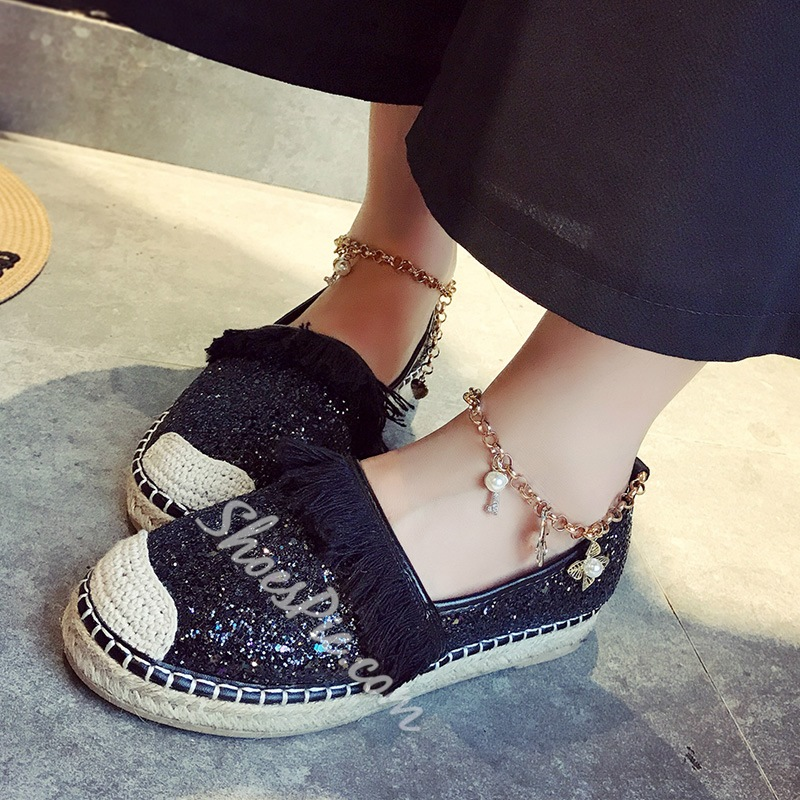 Shoespie Beads Chain Fringe Sequin Patchwork Color Block Sneaker