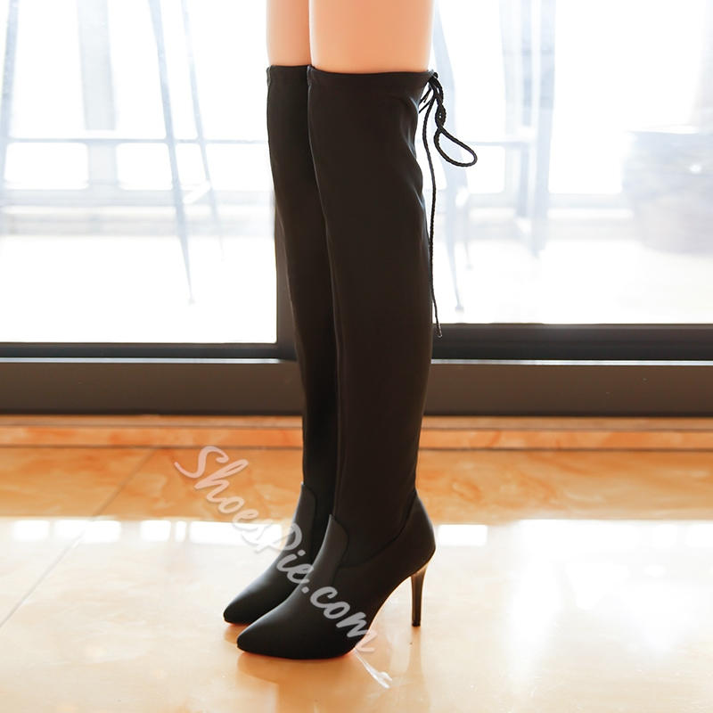 Shoespie Pointed Toe Lace-Up Back Stiletto Heel Knee High Boot