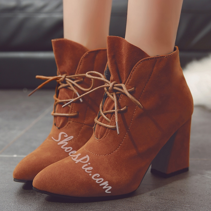 Shoespie Pointed Toe Lace-Up Front Chunky Heel Ankle Boot