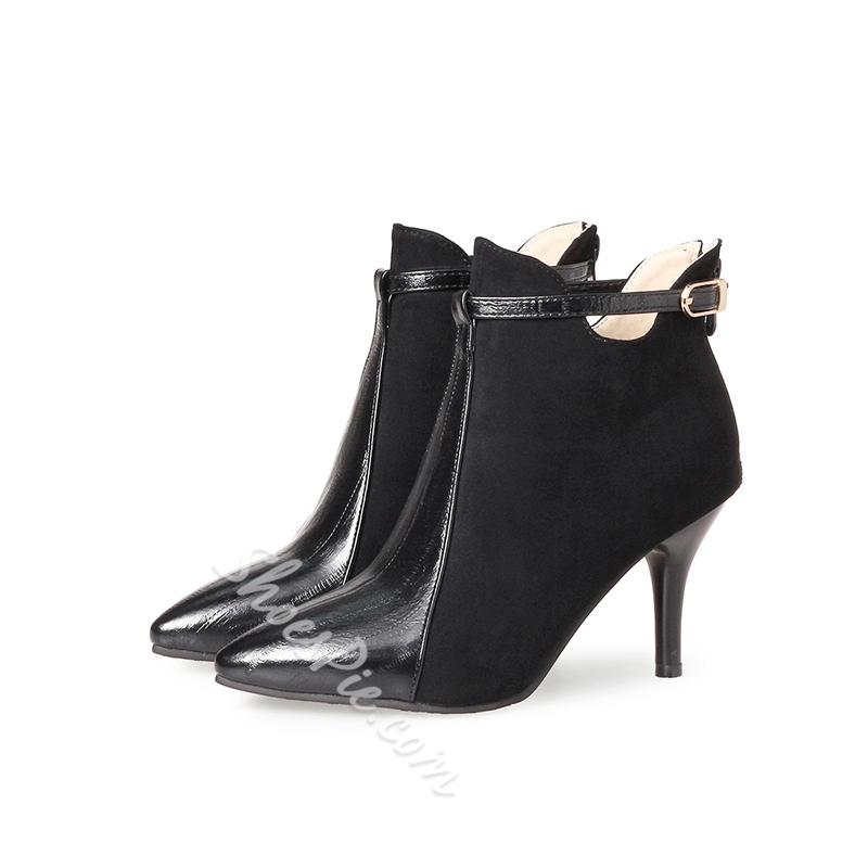 Shoespie Patchwork Hasp Pointed Toe Stiletto Heel Ankle Boot
