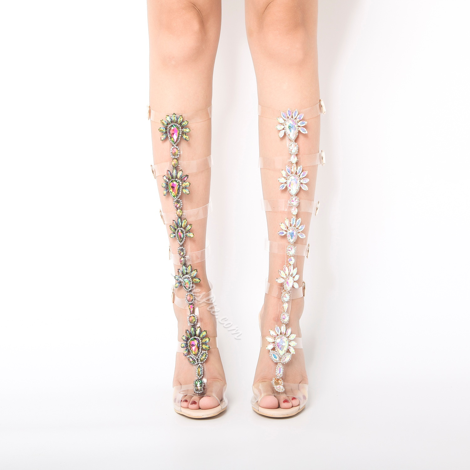 Rhinestone Floral Buckle Dress Sandals