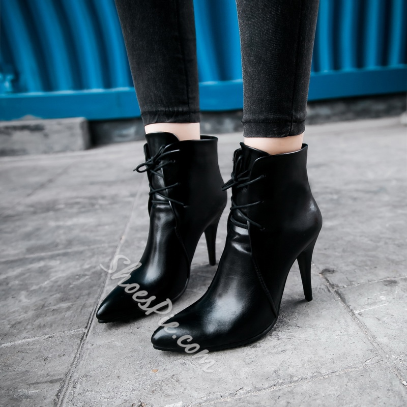 Shoespie Pointed Toe Stiletto HeelLace-Up Front Ankle Boot