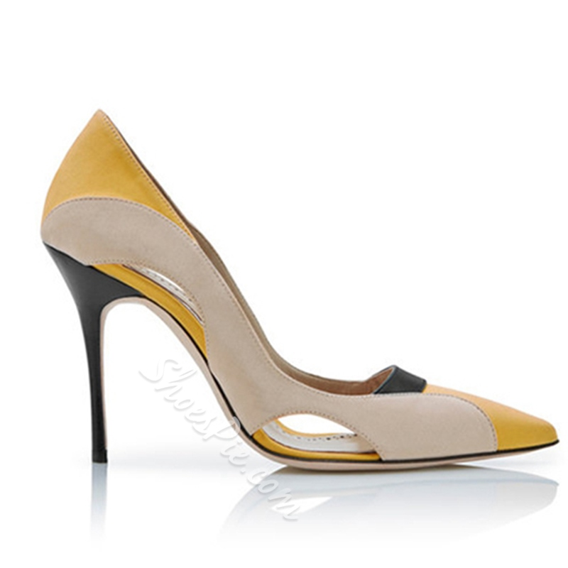 Shoespie Pointed Toe Hollow Slip-On Color Block Stiletto Heel