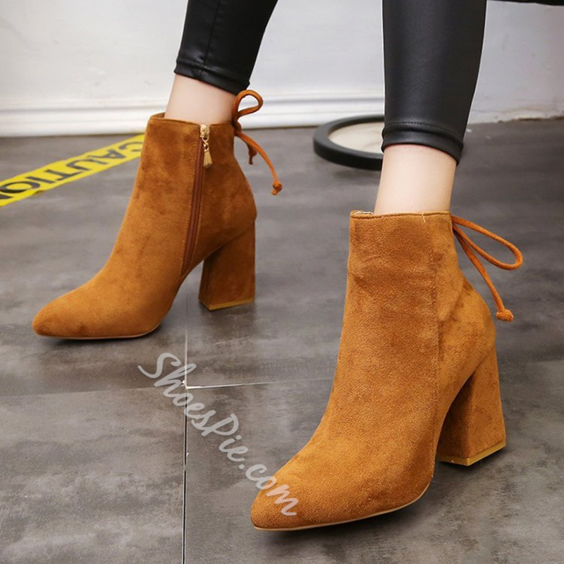 Shoespie Pointed Toe Lace-Up Chunky Hee Side Zipper Ankle Boot