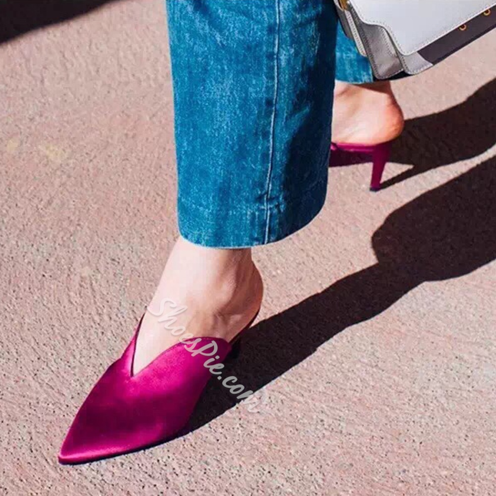 Shoespie Closed Toe Mules Shoes Slip-On Stiletto Heel