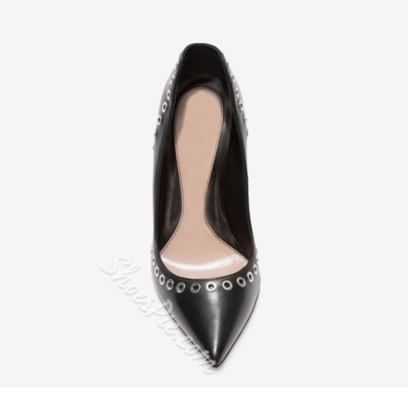 Shoespie Pointed Toe Slip-On Rivet Stiletto Heel