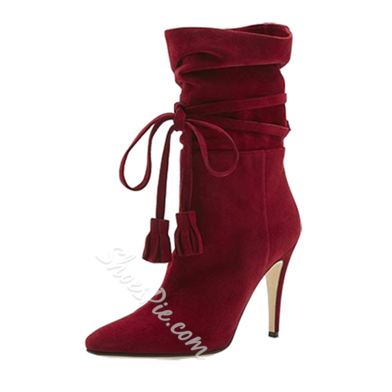 Shoespie Fringe Lace-Up Stiletto High Heel Boots