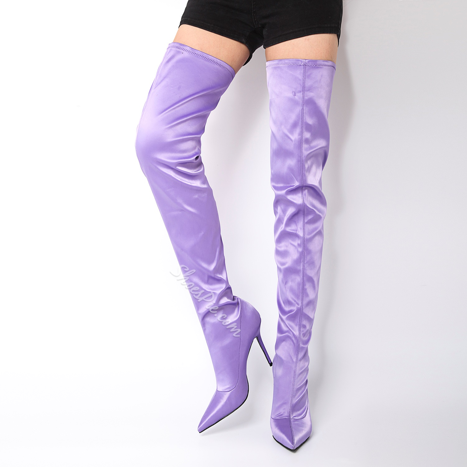 Shoespie Pointed Toe Slip-On Stiletto Heel Knee High Boot