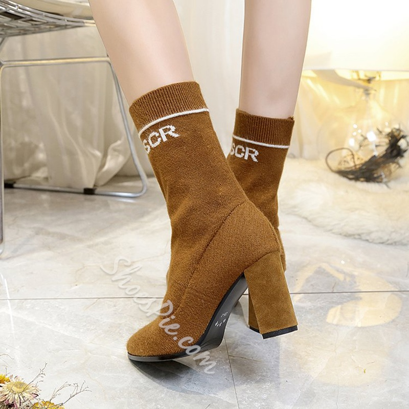 Shoespie Pointed Toe Slip-On Chunky Heel Ankle Boot