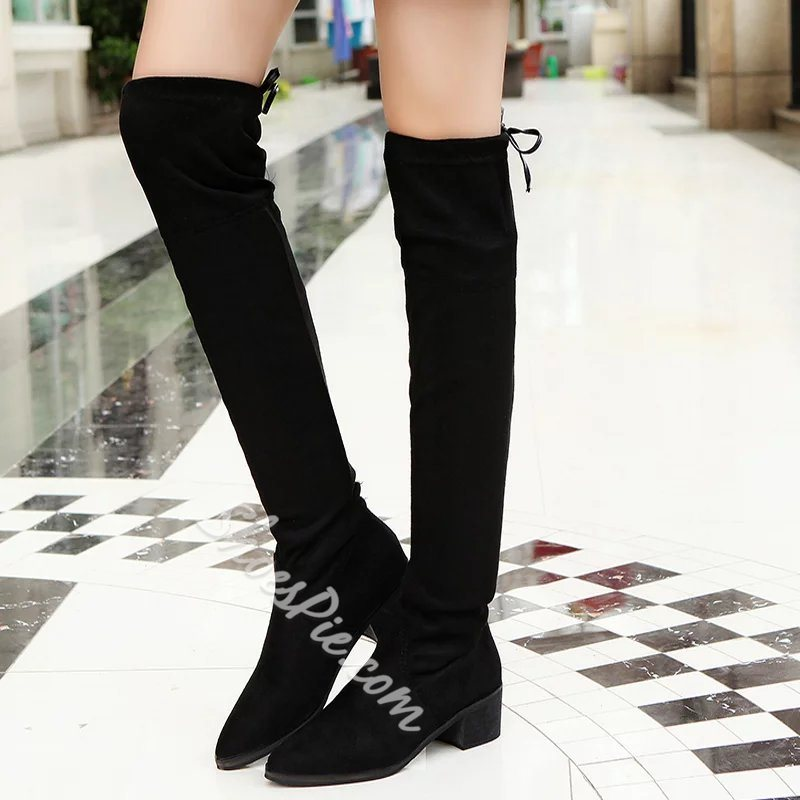 Shoespie Lace-Up Back Block Heel Knee High Boot
