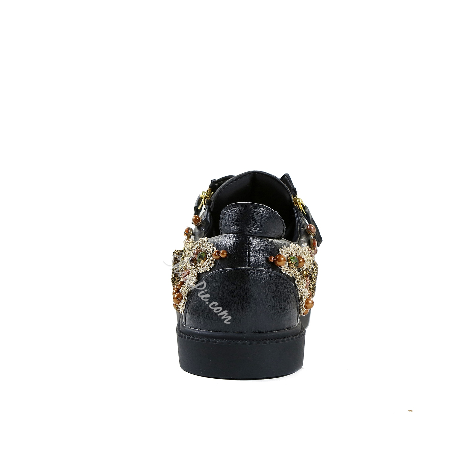 Shoespie Rhinestone Color Block Lace-Up Beads Zipper Sneaker