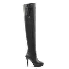 Shoespie Stiletto Heel Cross Strap Lace Platform Knee High Boot