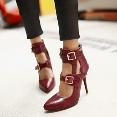 Shoespie Pointed Toe Hollow Buckle Back Zip Stiletto Heel