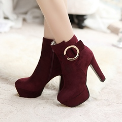 Shoespie Side Zipper Chunky Heel Sequin Platform Ankle Boots