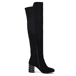 Shoespie Side Zipper Beads Chunky Heel Knee High Boot