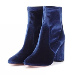 Shoespie Short Floss Back Zip Chunky Heel Ankle Boot