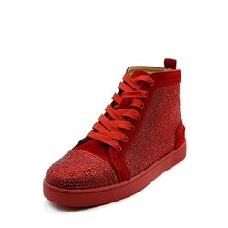Shoespie Casual Round Toe Rhinestone Lace-Up Sneaker