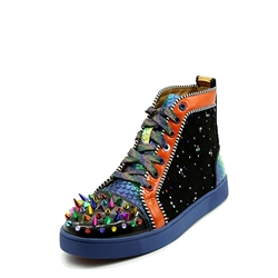 ShoespieColor Block Lace-Up Rhinestone Rivet Sneaker