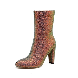 Shoespie Sequin Side Zipper Chunky Heel Ankle Boot