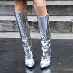 Shoespie Casual Silvery Pointed Toe Slip-On Stiletto Heel Knee High Boot