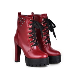 Shoespie Rivet Platform Lace-Up Front Chunky Heel Ankle Boot