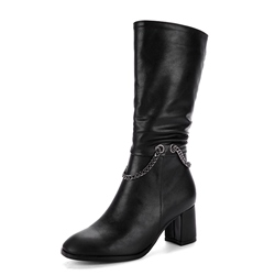 ShoespieSide Zipper Chain Chunky Heel Ankle Boot