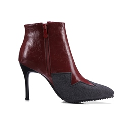 Shoespie Pointed Toe Side Zipper Color Block Ankle Boot