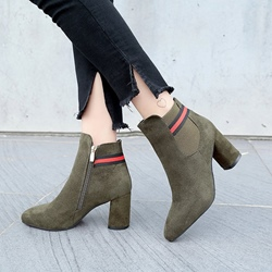 Shoespie Casual Pointed Toe Side Zipper Chunky Heel Ankle Boot