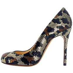 Shoespie Slip-On Leopard Sequin Stiletto Heel