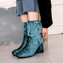 Shoespie Slip-On Short Floss Chunky Heel Ankle Boot