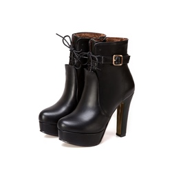 Shoespie Cross Strap Platform Buckle Side Zipper Chunky Heel Ankle Boot