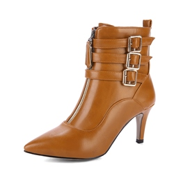 Shoespie Pointed Toe Stiletto Heel Buckle Side Zipper Ankle Boot