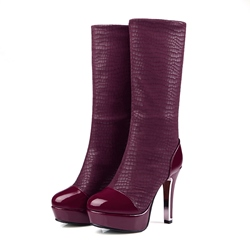 Shoespie Chunky Heel Platform Alligator Pattern Knee High Boot