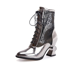 Shoespie Mesh Lace-Up Front Lace See-Through Shaped Heel Ankle Boot